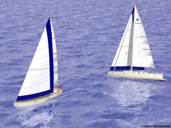 クローズホールドで交差する2艇