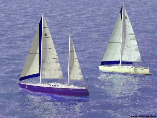 波のある水面を帆走する70fケッチと55fスループ