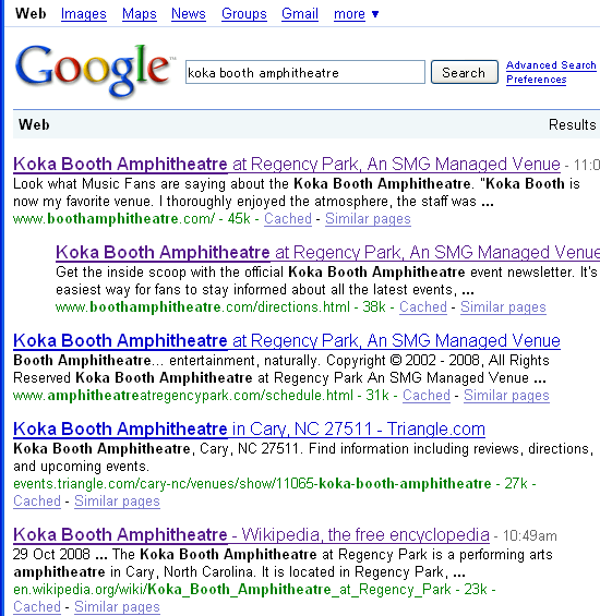 Google 検索リスト Koka Booth Amphitheatre