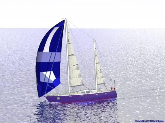 ジェネカーを揚げたケッチが帆走(小)