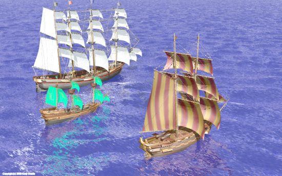 3隻の帆船(小)