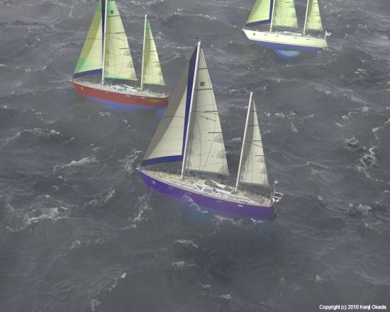 荒れた海と3隻の70feetケッチ(小サイズ)