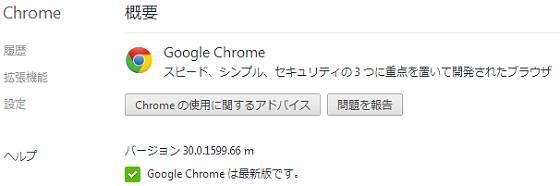 Google Chrome 30(バージョン 30.0.1599.66)
