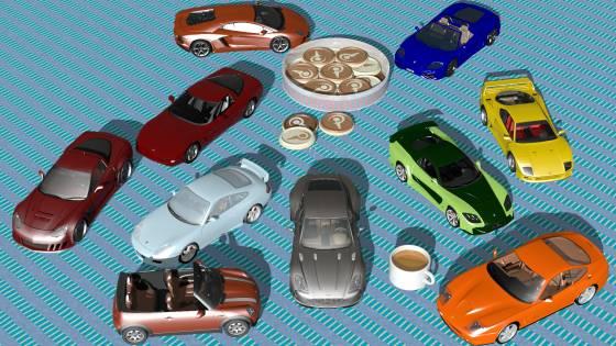 コーヒーテーブルにスーパーカーやスポーツカーなど10車種 小サイズ