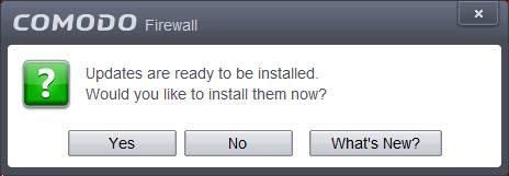 COMODO Firewall アップデイト プロンプト