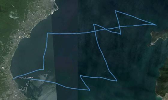 今日のセーリングの軌跡をGPSからGoogle Earth で読み込んで表示