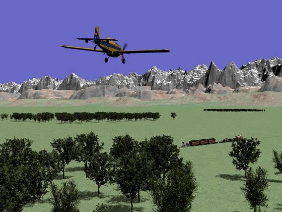 「山脈と森と草原」に列車と飛行機を加えた