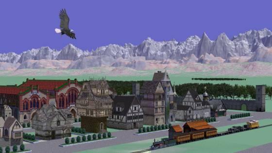 城壁に囲まれた中世の田舎風な建物群のある町