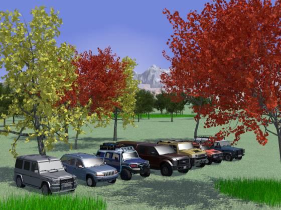 4WDなSUVが7台と紅(黄)葉
