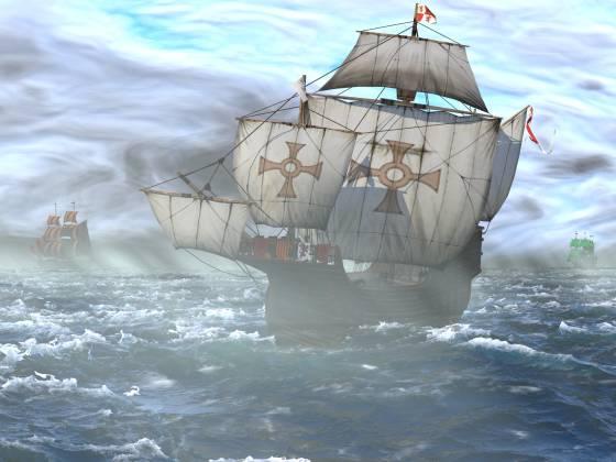 荒れた海と帆船