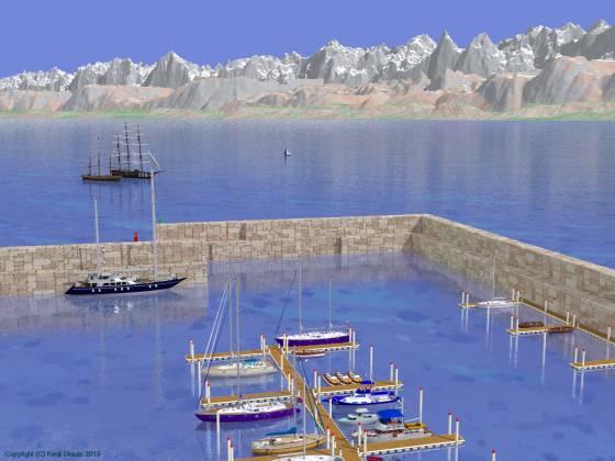 「切石積みの突堤に囲まれたヨットハーバー」