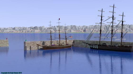 切石積みの港内に接岸した大型帆船2隻