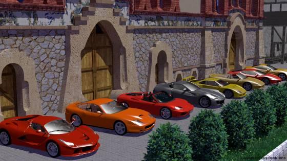 中世風な建物の前に並ぶ8台のフェラーリ
