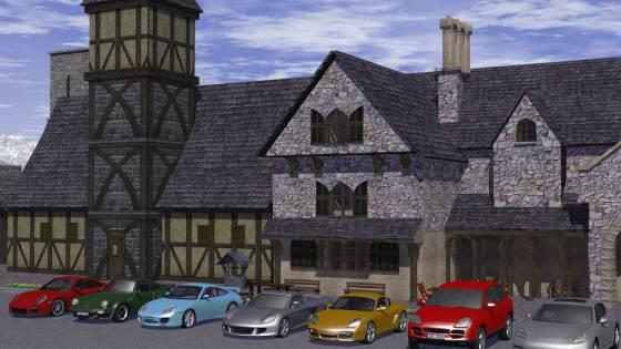 中世風の町に建物を追加して、前庭に7台のポルシェを配置してみた(近景)