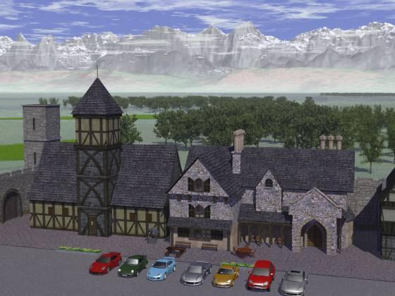 中世風の町に建物を追加して、前庭に7台のポルシェを配置してみた(全景)