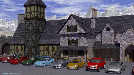 中世風の町に建物を追加して、前庭にポルシェやヨーロッパの小型車、大型バイク・自転車などを配置してみた(近景)