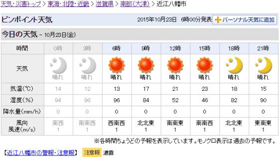 近江八幡市の天気   Yahoo 天気・災害_2015-10-23_ts.jpg