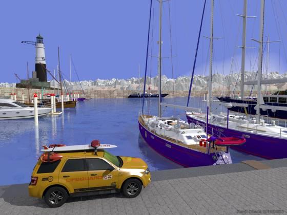 切石積みの突堤に囲まれたヨットハーバー(その2)
