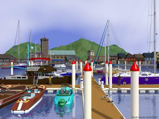 切石積みの突堤に囲まれたヨットハーバー(その5)