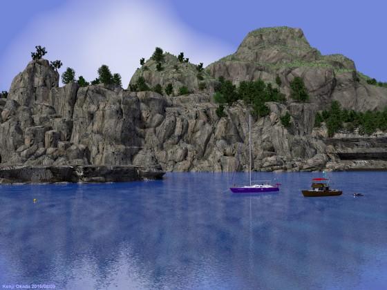 隠れ港のある島の風景 その1