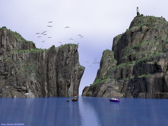 隠れ港のある島の風景 その2