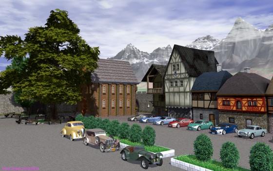 中世風の街並みにクラシックカーとアストンマーチン