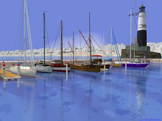 切石積みの突堤に囲まれたヨットハーバー(その6)