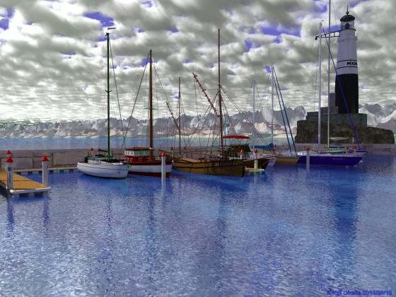 切石積みの突堤に囲まれたヨットハーバー(その6−2)