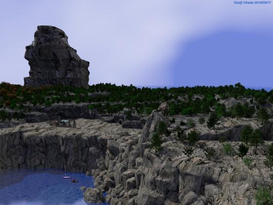 「隠れ港のある島」と森