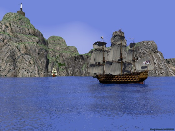 島の隠れ港に入ろうとする大型帆船