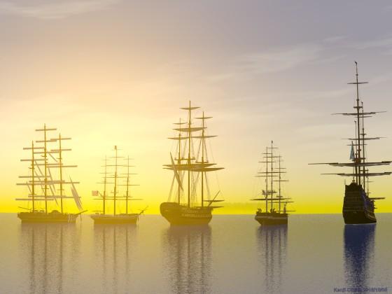 帆を休める大型帆船と夕暮れ
