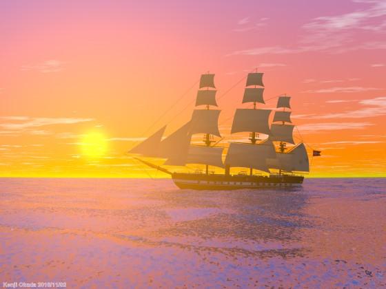 夕陽に重なる大型帆船「フリゲート ユラン」