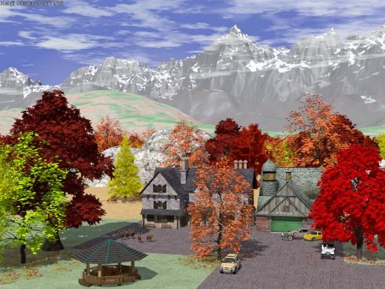 紅葉の森に囲まれた屋敷