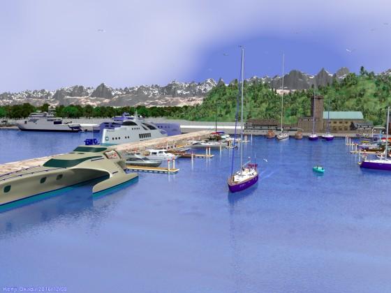 切石積みの突堤に囲まれたヨットハーバー(その7)