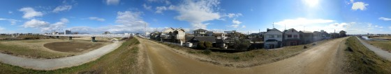 藻川左岸土手道からの360度パノラマ写真