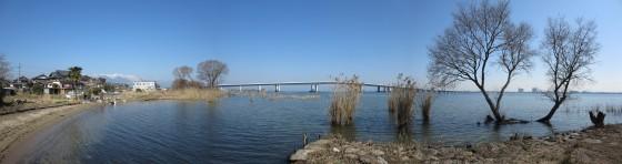 琵琶湖大橋の180度パノラマ写真