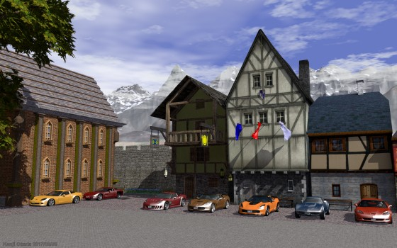 中世風街並みにシボレー・コルベット
