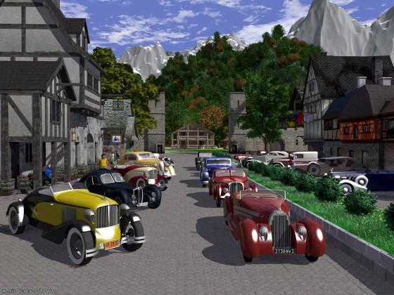 中世風街並みとクラシックカー