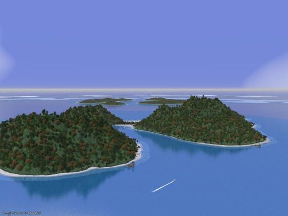 珊瑚礁に囲まれた島