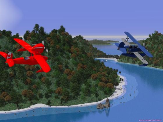 島々の上を飛ぶ水上飛行機