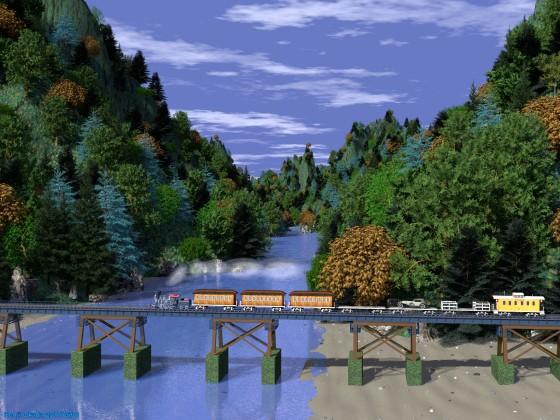 谷川と鉄橋とSL列車