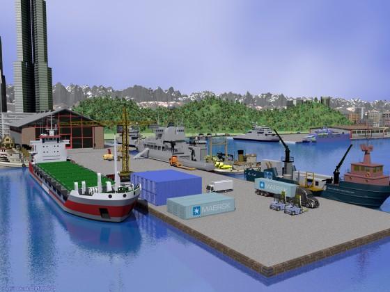 海洋調査船の停泊する突堤