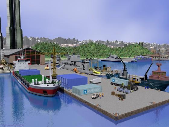 海洋調査船の停泊する突堤(その2)