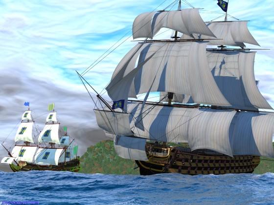 並走する2隻の全装帆船