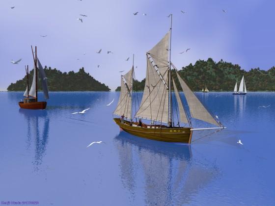古風なガフリグ帆船