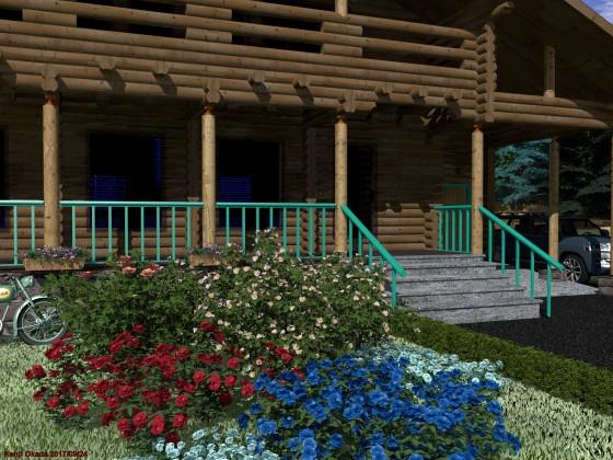 前庭のバラとログハウス