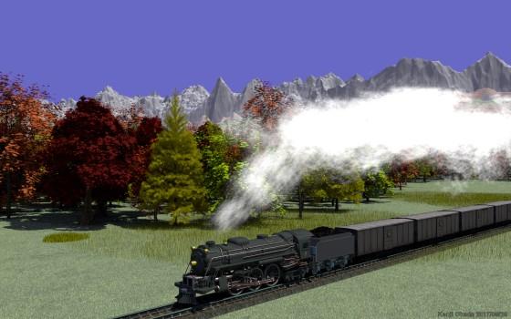 盛大に白煙を上げて走る蒸気機関車