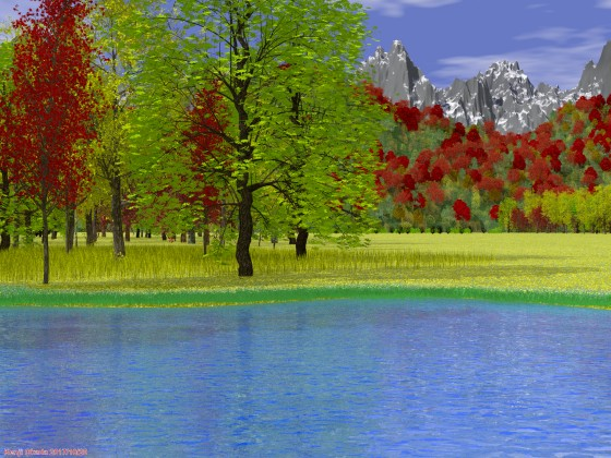 秋色に染まる野山