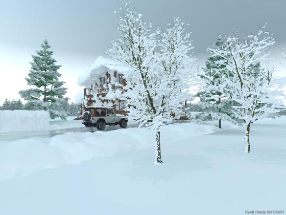 雪に覆われた木樹とログハウス
