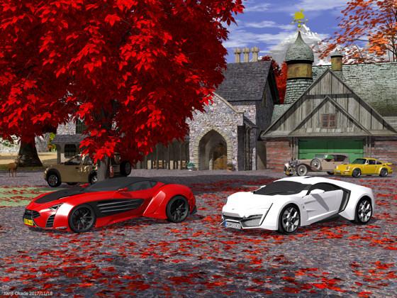 紅葉の庭に停めた2台のスーパーカー
